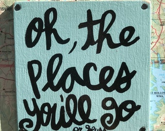 """Hand Made Dr Seuss Vintage Map Quote Collage Nursery Childrens Wall Art Geography Gift Sign """"Oh, the places you'll go"""""""
