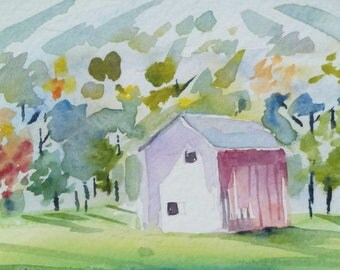 original watercolor painting ACEO farmhouse barn 2.5x3.5 inches