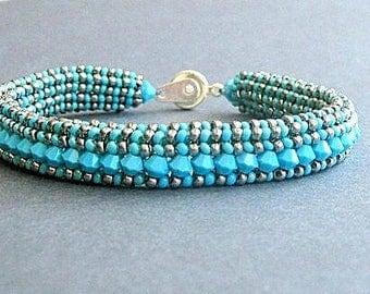 turquoise crystal bracelet southwestern beaded bracelet swarovski bracelet boho bracelet hippie bracelet