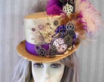 Steampunk Top Hat, Plum and Gold Top Hat, Steampunk, Kentucky Derby Top Hat, Wedding Top Hat