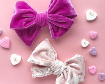 """Bright Fuchsia or Blush Pink Velvet """"Gwen"""" Hairbow Valentine's Day Hair Clip"""