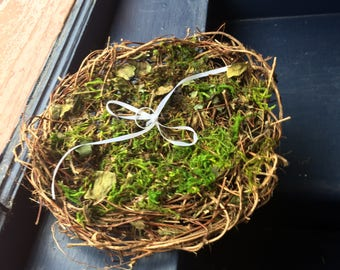 Ring Bearer Pillow Alternative, Rustic Country, Cottage Wedding, Wicker Tray, Mossy Nest, RBLM