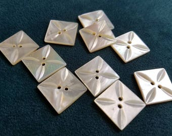 Vintage Buttons - Amazing mother of pearl, 10 matching medium size square  design(July 111 17)