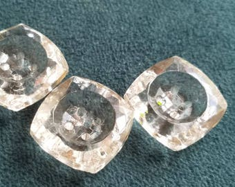 Vintage Buttons - 3 matching  design cut glass square design Depression glass (lot july 195 17)