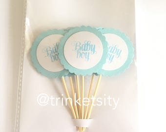 Baby Shower Cupcake Toppers  - New Baby Boy - 2 inches - Scalloped Edge - Baby blue x6