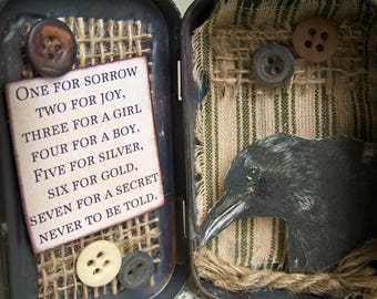 Altered Altoid Tin Assemblage Collage Altered Art Tin Vintage Crow Altered Crow Art Vintage Style Vintage Mixed Media Found Object Art