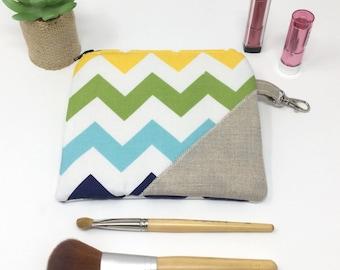 Medium Makeup Bag, Chevron Zipper Pouch, Cute Cosmetic Case, Cute Makeup Bag -Blue and Green Chevrons