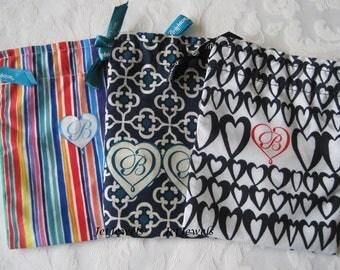 3 Drawstring Bags, Brighton Gift Bags, Jewelry Gift Bags, Brighton Jewelry Bags, Necklace Bag, Fabric Bags, Sachet Bag, Small Gift Bag 4.5x6