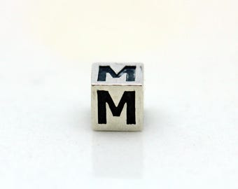 Sterling Silver Alphabet M Block Cube Square Bead 4mm