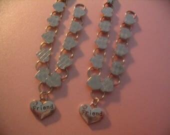 Two Friends Heart Charm Bracelets  Jewelry Gift