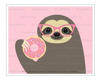55J Sloth Art - Sloth Eating Pink Donut Wall Art - Donut Prints - Doughnut Wall Art - Art for Children - Kids Wall Art - Funny Animal Prints