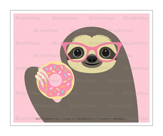 55J Sloth Art - Sloth Eating Pink Donut Wall Art - Donut Prints - Doughnut Wall Art - Art for Children - Kids Wall Art - Funny Animal Prints