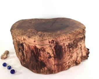 Black Walnut Tree Trunk Wooden Box, cremation urn, cremains box, keepsake box, wood art, valet box, pet urn, jewelry box