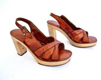 "vintage 1970s burnt caramel brown leather WOODEN heel super 4"" PLATFORMS sandals glam BOHO womens 8 8 1/2 M peep toe strappy studio 54 funk"