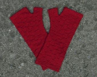 Merino wool fingerless gloves - red crosses knit fingerless armwarmers, fine textured gloves, red gloves