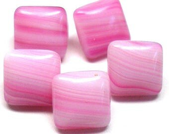"Czech Glass Buttons, 5 Pink Stripe Squares 3/8"", 10mm."