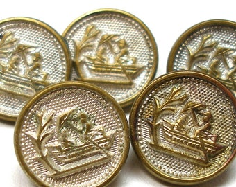 """5 Antique BUTTONS, Victorian figures on a boat, 1/2""""."""