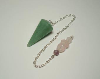 Green Aventurine and Rose Quartz Goddess Gemstone Crystal Dowsing Pendulum