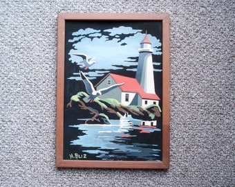 Vintage paint-by-number picture - dramatic lighthouse - framed