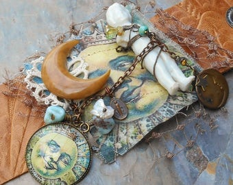 Mr Moonlight Embossed Leather Cuff with Antique Frozen Charlotte & Antique Moon Button w/Scatter Pin