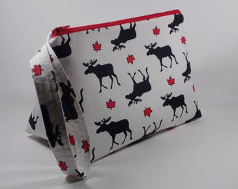 Canada 150 Knitting Project Bag - Moose and Maple Leaf Sock Project Bag - Zippered Project Bag - Crochet Project Bag - Wedge Bag