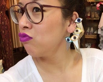 colorful evil eye leather statement earrings