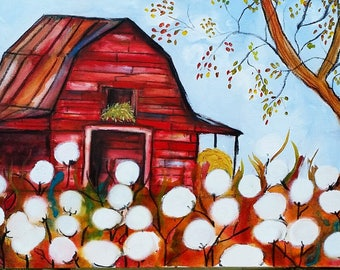 Red Barn and Cotton, 18 x 36, large ORIGINAL Mixed Media painting, gallery wrap canvas