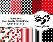 Digital Paper Pack   JPG Files   LadyBugs Stripes Polka Dots   High Resolution Printable   Black White Red   Scrapbooking   Commercial Use