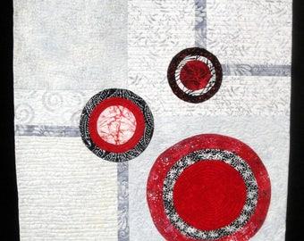 Eyes Of Love   Red Black Gray Modern Art Wall Quilt