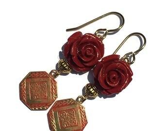 Deep Red Flower Dangle Earrings