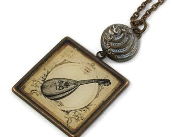 Mandolin Pendant Necklace on long brass chain, Musical Instrument Necklace