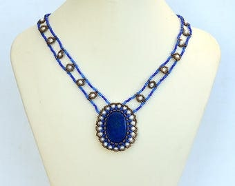 Classic necklace with lapis lazuli Blue and white necklace Victorian style necklace with blue gemstone Lapis lazuli jewelry N713