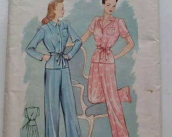 "1940s Pyjamas - 36"" Bust - Economy Design No. 184 - Vintage Sewing Pattern"