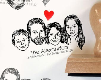 Custom portrait Personalized gift Illustrated couples' art family return address stamp holidays stamp up wedding birthday greetings cards