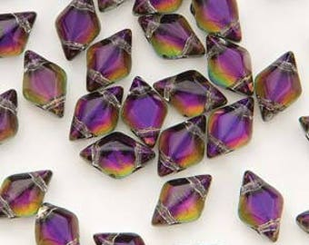 GemDuo (Matubo) 2-Hole Bead 5x8MM Backlit Purple Haze -29532- Approximately 20 Grams