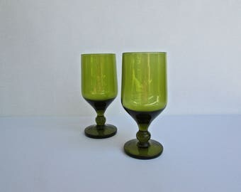 Verve Modern Olive-Green Wine Glasses, Mid century Vintage Barware, All Green w/ rounded wafer-stem