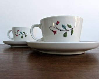 Franciscan 1958 Winsome, Set of 2 Teacups & Saucers, Pink Bell-Flowers w/ Blue/Green Leaves, Tan Porcelain Mid Century Dinnerware