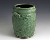 Carved Weave Pattern Green Utility Crock/SHIPPING INCLUDED