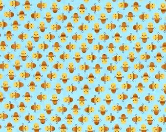 Two (2) Yards - Suzy Mini's Bee Fabric by Robert Kaufman Fabrics ASD-16325-63 Sky Blue