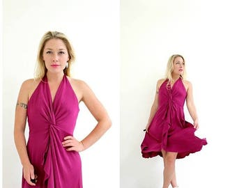 ON SALE 1970s Magenta Halter Dress /// Size Small
