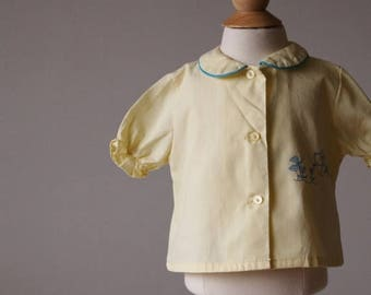 ANNIVERSARY SALE 1960s Puppy Blouse~Size 9 Months