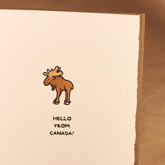 Hello From Canada Cute Happy Moose Canadian Greeting Card Stationery Fun Animal Adorable Made in Canada Toronto Wholesale Canadiana Wildlife