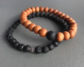 men's lava beaded mala bracelet- mens bracelet, lava bracelet , beaded bracelet , men's mala bracelet, diffuser bracelet