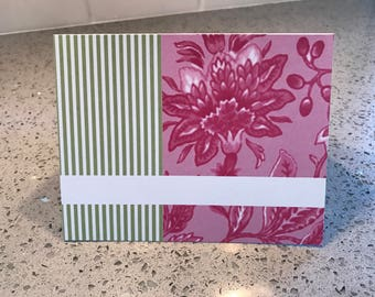 20 flowers and stripes note cards stationary