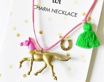 Horse Necklace. Kids Necklace. Girls Necklace. Kids Jewelry. Girl Horse Necklace. Horse Jewelry. Girl Jewelry. Horse Lover Gift.