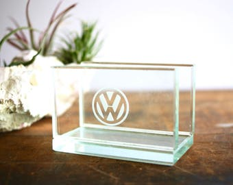 Vintage Volkswagon Business Card Holder Thick Etched Glass Office Desk Accessory Car Collectible Dealership Promotional Giveaway Advertising