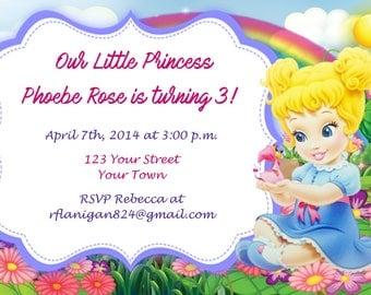 Girls Baby Cinderalla Disney Princess Printable Birthday Party Invitation Digital Print