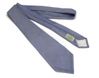 Vintage 1950s Seersucker Neck Tie, Pilgrim Cravats Blue and White Puckered Checkered Necktie