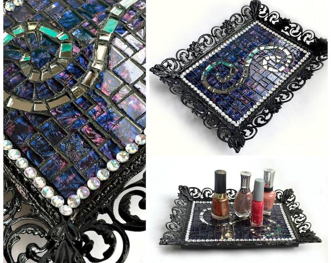 Fancy Mosaic Cosmetic Tray, Mosaic Boudoir Tray, Mosaic Perfume Tray, Mosaic Bathroom Tray, Purple Black Silver Tray, Goth Mosaic Tray