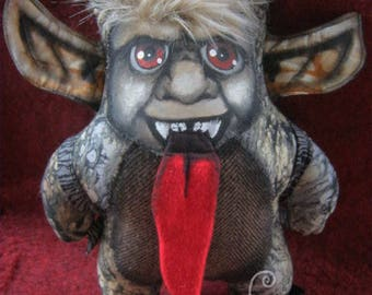 KRAMPUS!! Plush Doll One of a Kind handmade cuddly Krampus with hand painted unique face!